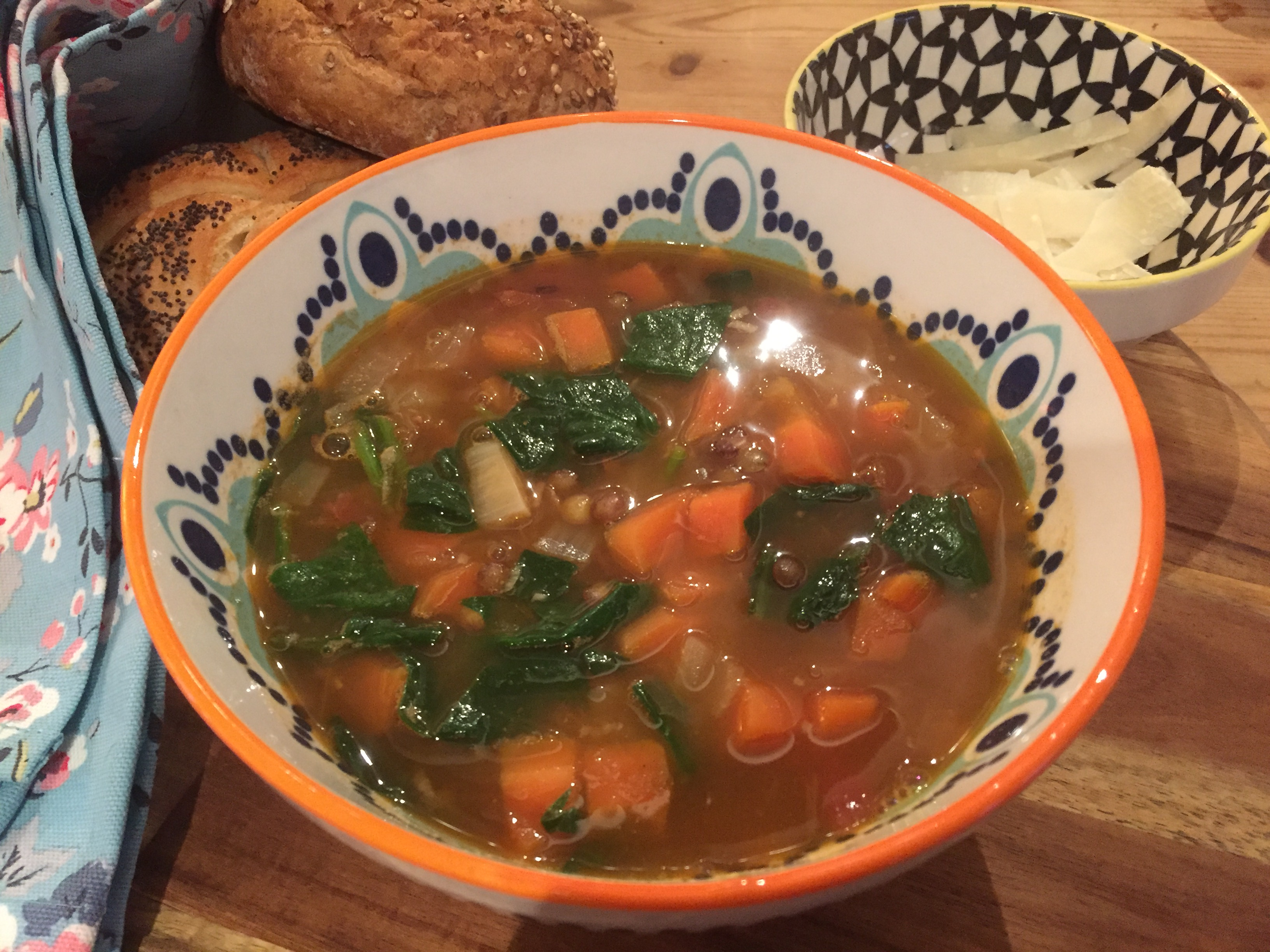 Puy Lentil and Spinach Soup